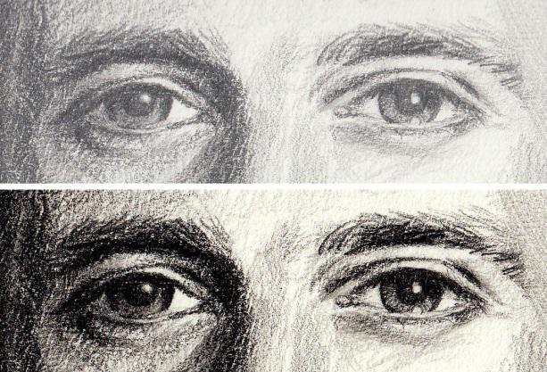 Scan of a pencil drawing without (above) and with adjustments in an image editor (below).