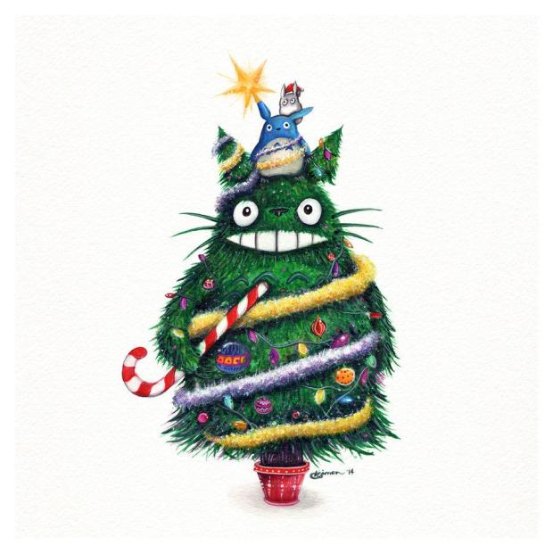Totoro in Christmas tree form | © Simanion
