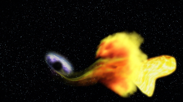 Artist's impression of the black hole devouring a star in the constellation Draco. | © NASA