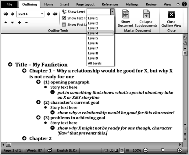 Example of Microsoft Word Outline view (found under View/Outline)