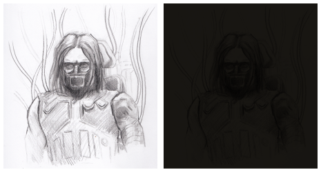 Right: scanned sketch, left: sketch with dark color layer set to multiply. | © Jae Bailey