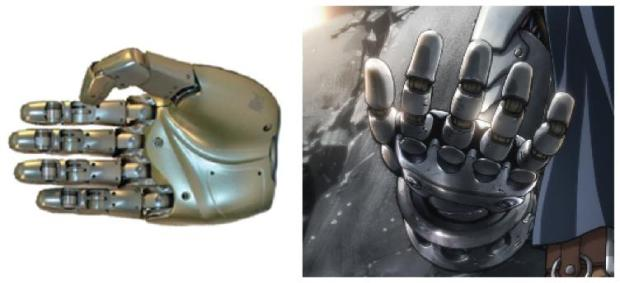 Left: current state of the art robotic hand (image from DLR, Institute of Robotics and Mechatronics, Germany); right: Edward Elric's hand in Full Metal Alchemist.