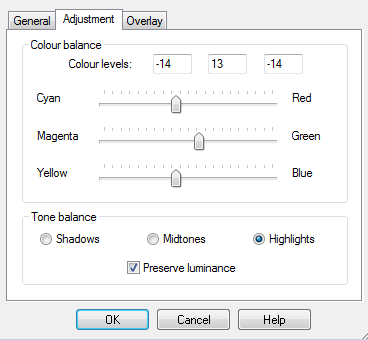 Adjustment layer settings for the highlights.