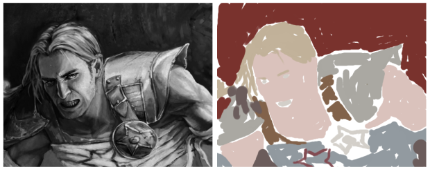 Black and white fan art (left), color layer (right)