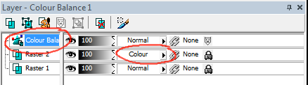 Color balance adjustment layer (top layer) and color layer (middle)