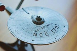 A small model of the U.S.S. Enterprise starship from Star Trek