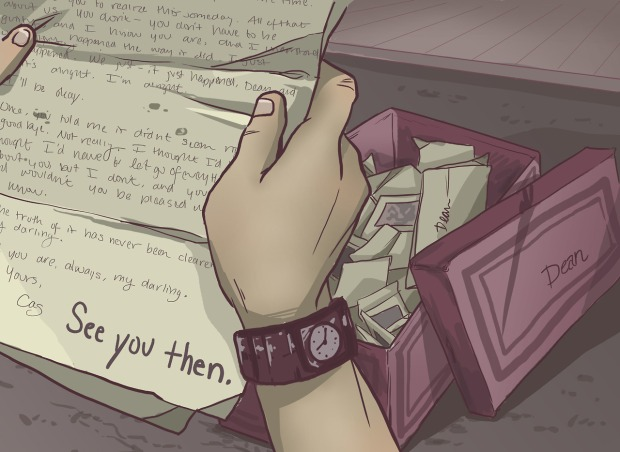 Fan art of Dean Winchester holding a hand-written letter from Castiel.